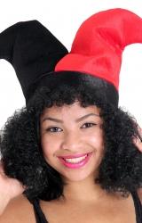 Chapéu Coringa Preto / Vermelho com Cabelo