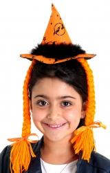 Mini Chapéu Bruxa com Trança Laranja