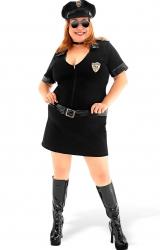 Fantasia Policial Preta Plus Size